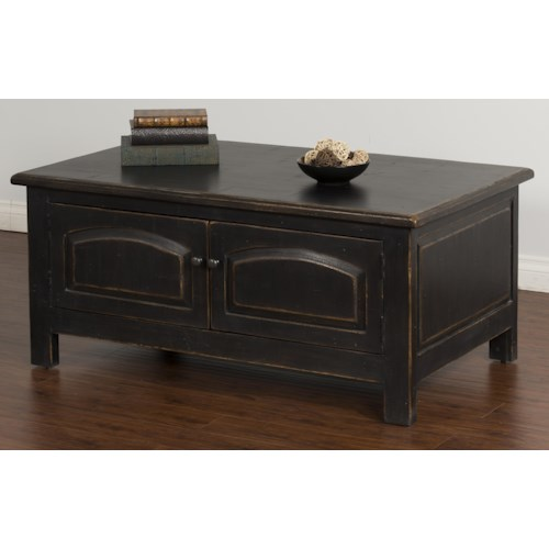 Sunny Designs Black Coffee Table w/ Storage Doors