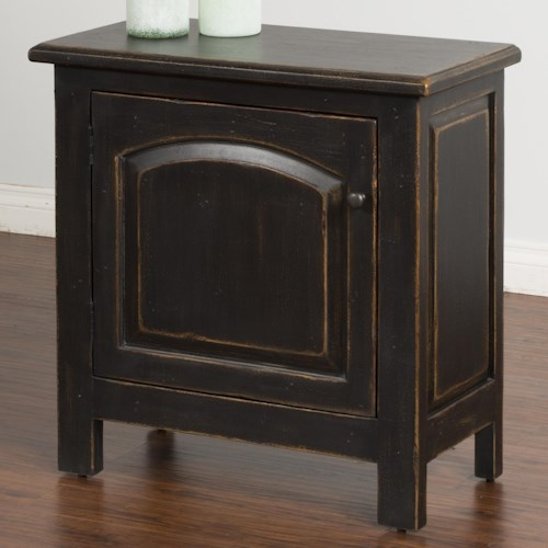 Sunny Designs Black End Table with Arch Door