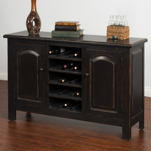 Sunny Designs Black Distressed Finish Sideboard w/ Wine Storage