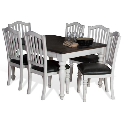 Sunny Designs Bourbon Country 7-Piece Extension Dining Table Set with Slatback Chairs