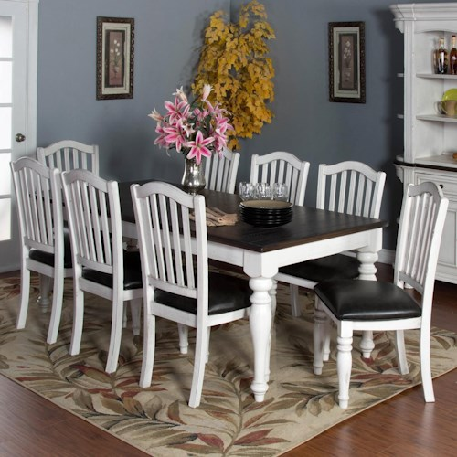 Sunny Designs Bourbon Country 9-Piece Extension Dining Table Set with Slatback Chairs