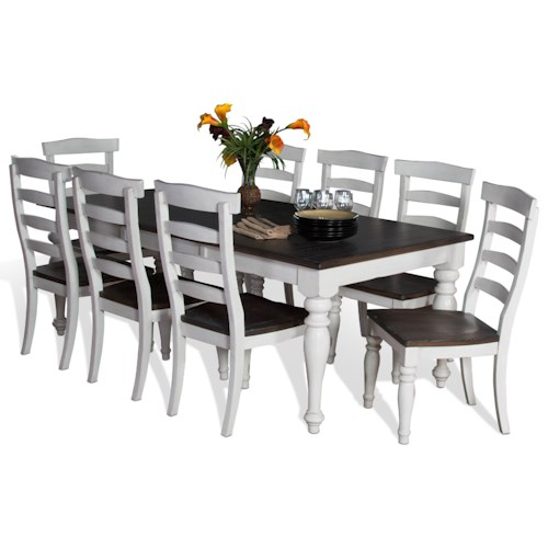 Sunny Designs Bourbon Country 9-Piece Extension Dining Table Set with Ladderback Chairs