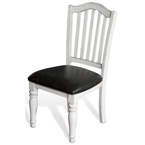 Sunny Designs Bourbon Country Slatback Chair w/ Cushion Seat in White Finish