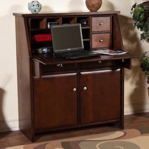 Sunny Designs Cappuccino Drop Leaf Laptop Desk Armoire