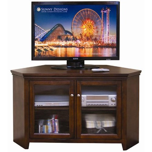 Sunny Designs Cappuccino Convenient Corner TV Console