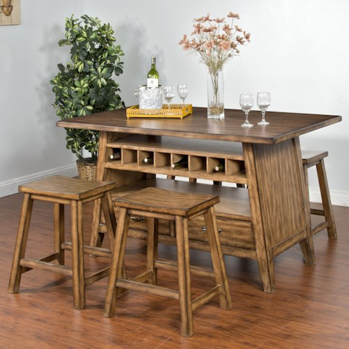 Sunny Designs Cornerstone 5-Piece Counter Table with Storage Set