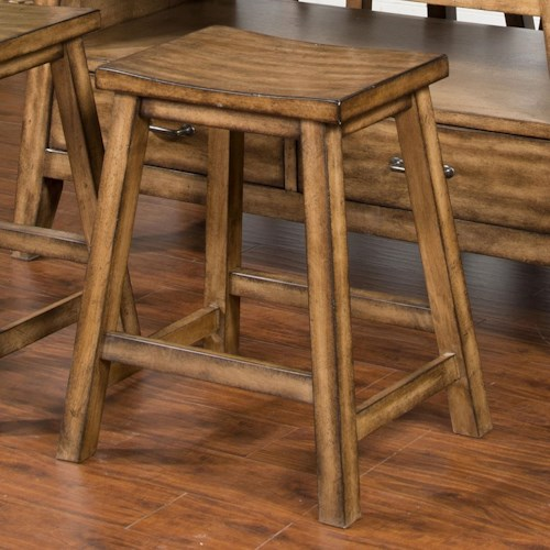 Sunny Designs Cornerstone Counter Height Barstool with Contoured Wood Seat