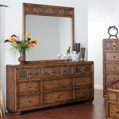 Sunny Designs Coventry Dresser with Slate Tiles & Mirror