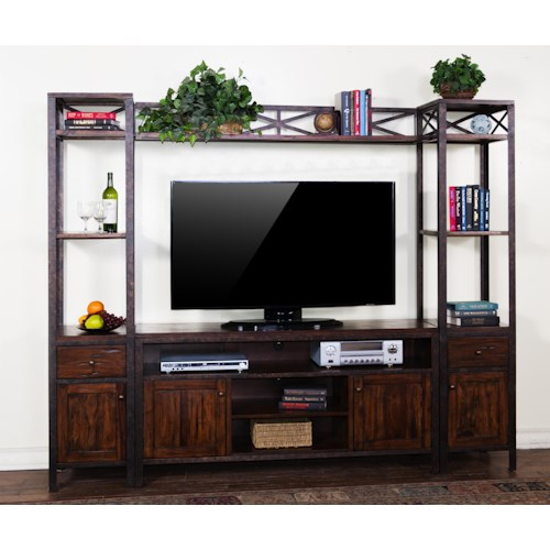 Sunny Designs Crosswinds Entertainment Wall with 60 Inch Console