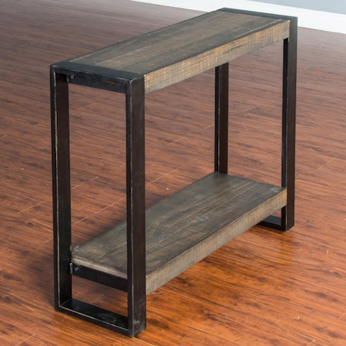 Sunny Designs Durham Distressed Pine Chair Side Table (Large) with Industrial Metal Frame