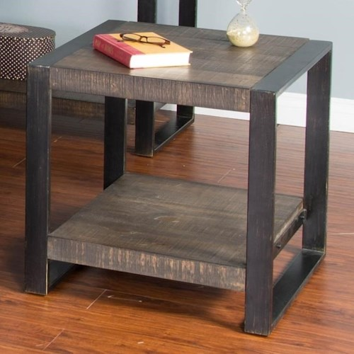 Sunny Designs Durham Distressed Pine Square End Table with Industrial Metal Frame