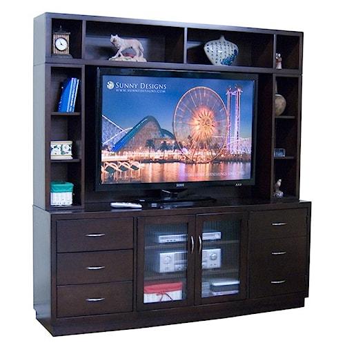 Sunny Designs Espresso 6-Drawer TV Console & Open Hutch
