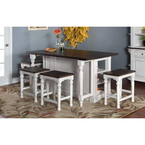 Morris Home Furnishings Fairbanks 3-Piece Kitchen Island Set includes Kitchen Island and 2 Stools