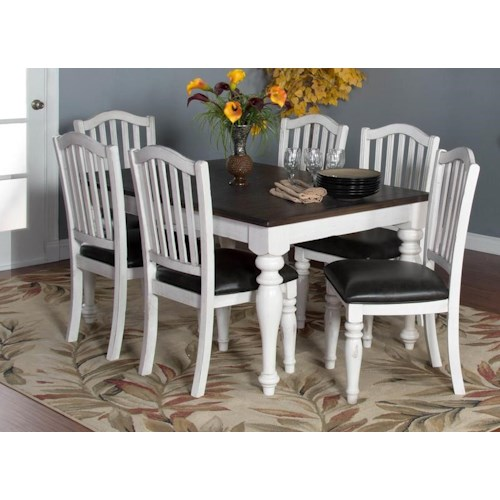 Morris Home Furnishings Fairbanks 5-Piece Dining Set includes Extension Table and 4 Upholstered Side Chairs