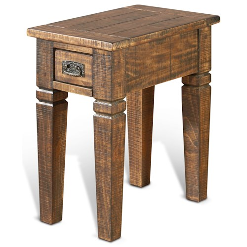 Sunny Designs Homestead Rustic Pine Chair Side Table w/ 1 Drawer
