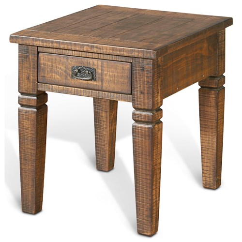 Sunny Designs Homestead Rustic Pine End Table w/ 1 Drawer