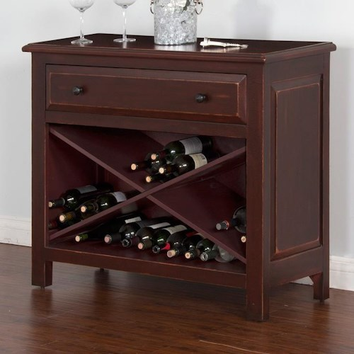 Sunny Designs Red Accent Chest w/ Wine Storage and 1 Drawer