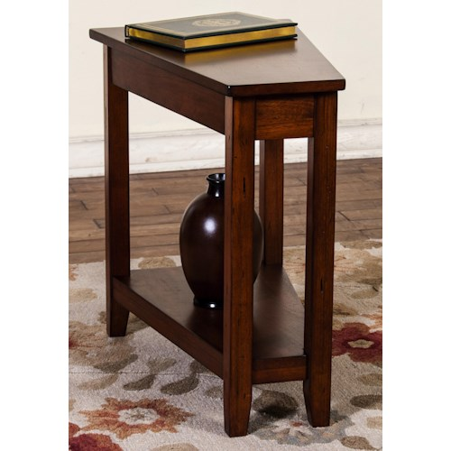 Sunny Designs Route 66 Cherry Finish Wedge Chair Side Table