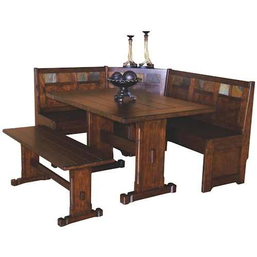 Sunny Designs Santa Fe Traditional Breakfast Nook Set with Side Bench