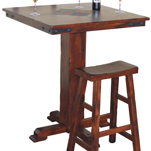 Sunny Designs Santa Fe Traditional Small Square Slate Top Pub Table