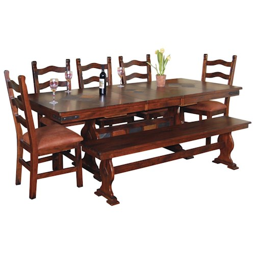 Sunny Designs Santa Fe Traditional Rectangular Slate Top Trestle Dining Table and Chair and Bench Set