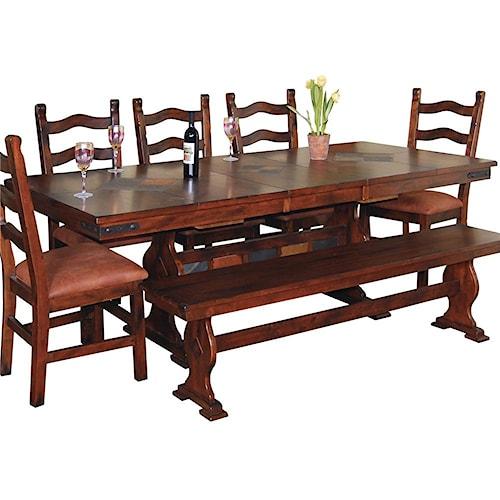 Sunny Designs Santa Fe Traditional Slate Top Trestle Dining Table