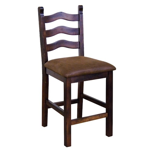 Sunny Designs Santa Fe Traditional 24 Inch Curved Ladder Back Gathering Height 24 Inch Bar Stool