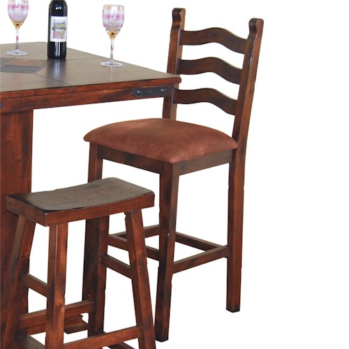 Sunny Designs Santa Fe Traditional 30 Inch Curved Ladder Back Gathering Height 30 Inch Bar Stool