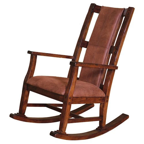 Sunny Designs Santa Fe Traditional Wood Rocker with Upholstered Seat  Cushion and Back