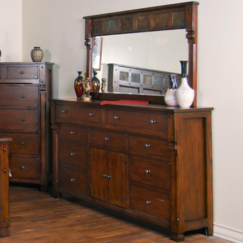Sunny Designs Santa Fe Dresser and Mirror Combination