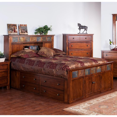 Sunny Designs Santa Fe Queen Storage Bed w/ Slate