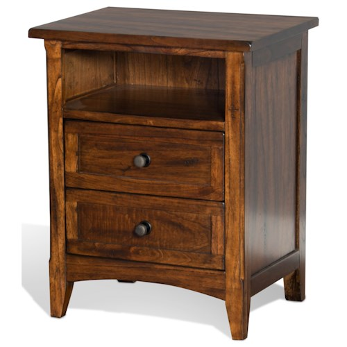 Sunny Designs Santa Fe Night Stand with 2 Drawers and 1 Shelf