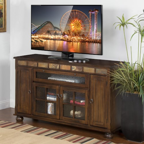 Sunny Designs Santa Fe Traditional 62 Inch Counter Height TV Console