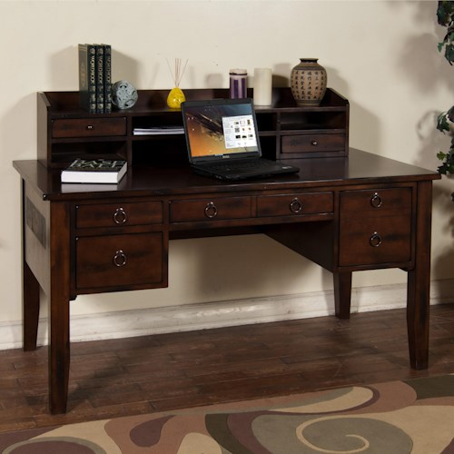 Sunny Designs Santa Fe Writing Desk with Keyboard Drawer & Hutch