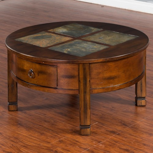 Sunny Designs Santa Fe Round Coffee Table with Slate Tiles & 2 Drawers