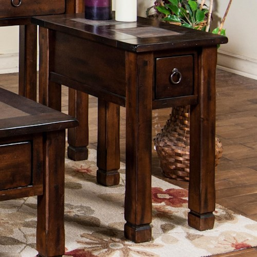 Sunny Designs Santa Fe Chair Side Table with Slate
