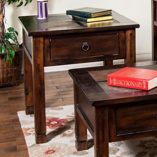 Sunny Designs Santa Fe End Table w/ Slate Top