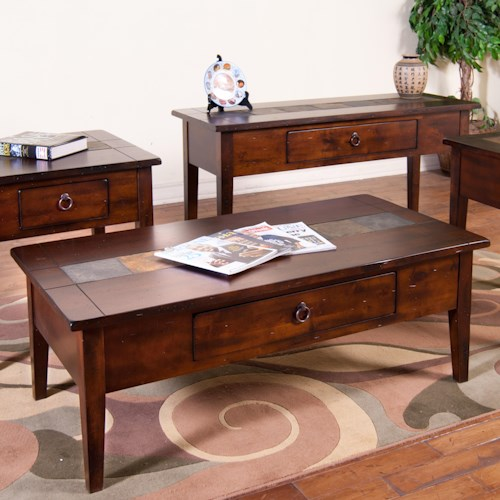 Sunny Designs Santa Fe Coffee Table  with Slate Tiles and Utility Drawer