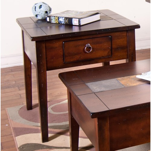 Sunny Designs Santa Fe End Table with Slate Tiles and Utility Drawer