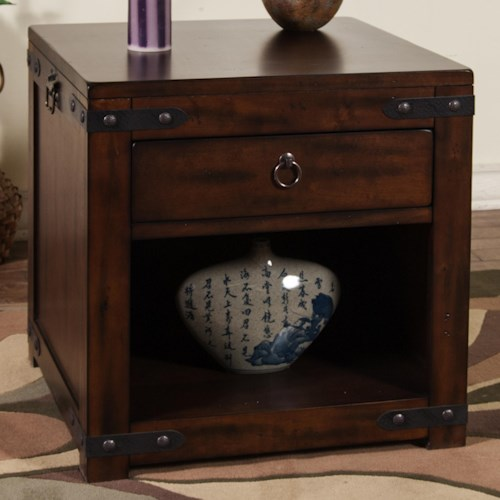 Sunny Designs Santa Fe Rustic End Table w/ Shelf & Drawer