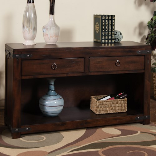 Sunny Designs Santa Fe Rustic Sofa/Console Table w/ 2 Drawers & Shelf