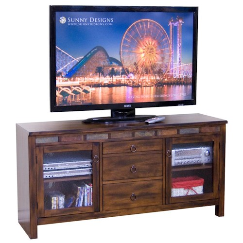 Sunny Designs Santa Fe Rustic 60 Inch TV Console with Game Drawer