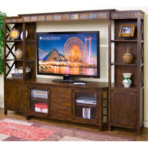 Sunny Designs Santa Fe 4-Piece Entertainment Wall w/ 60