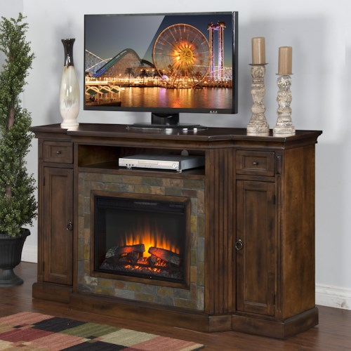 Sunny Designs Santa Fe Distressed Birch Fireplace TV Console w/  26