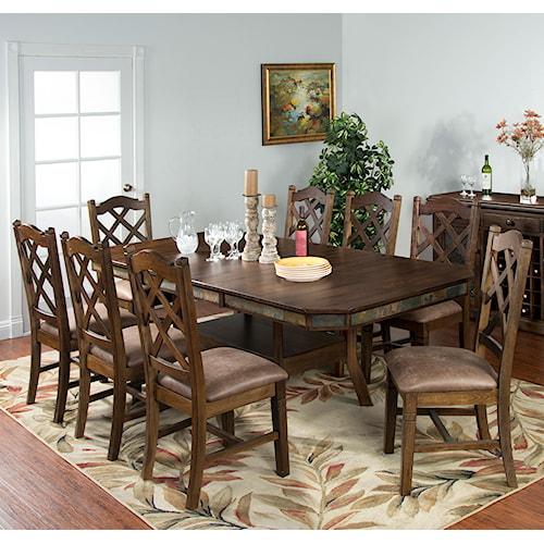 Sunny Designs Savannah 9-Piece Adjustable Height Table Set