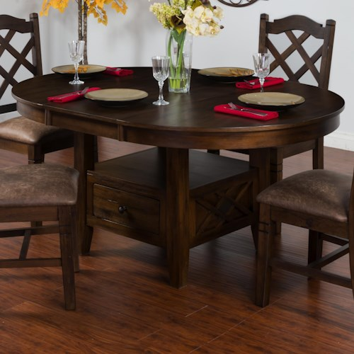 Sunny Designs Savannah Adjustable Height Oval Butterfly Dining Table