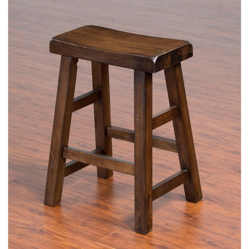 Sunny Designs Savannah Solid Wood Saddle Seat Stool, 24