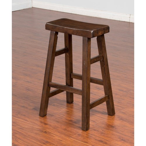 Sunny Designs Savannah Solid Wood Saddle Seat Stool, 30