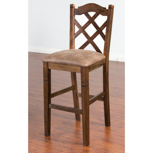 Sunny Designs Savannah Double Crossback Stool with Cushion Seat, 30