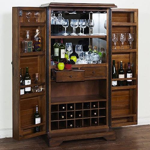 Sunny Designs Savannah Bar Armoire with Shutter Doors